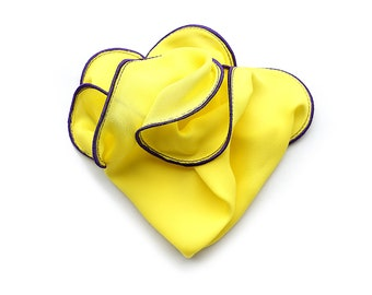 Yellow Pocket Square with Purple Edge Border Wedding Hankerchief  Custom Pocket Round  Groomsman Hankie  Pocket Silk Handkerchief for Man