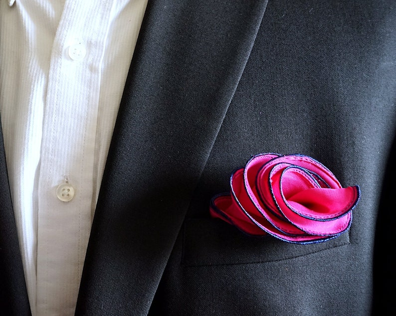 Magenta Silk Pocket Square with Navy Edge Border  Wedding image 0