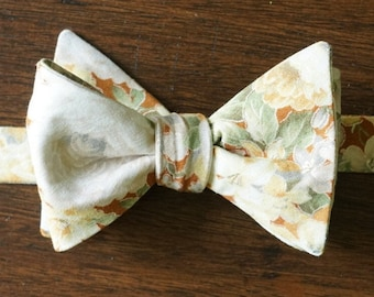 Tan Floral Bouquet Bow Tie for Men, Gift For Groom, Self Tie or Pre Tied Bowtie,1 00% Cotton with White, Grey and Green Botanical Accents