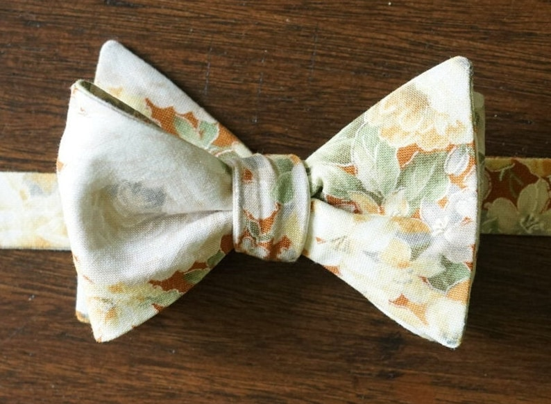 Tan Floral Bouquet Bow Tie for Men Gift For Groom Self Tie image 0