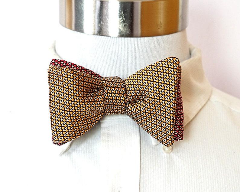 Reversible Bow Tie Orange Pattern Red Pattern Self Tie