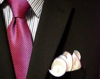 White Pocket Square with Rainbow Edge Border Wedding Hankerchief  Custom Pocket Round  Groomsman Hankie  Pocket Silk Handkerchief for Man