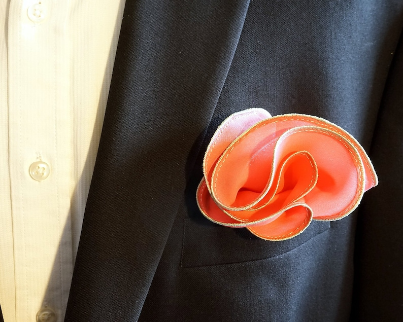 Coral Silk Pocket Square with Mint Edge Border  Wedding image 0