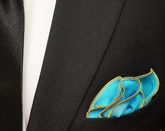 Light Blue Silk Pocket Square with Gold Edge Border  Wedding Hankerchief  Custom Pocket Round  Groomsman Hankie  Pocket Handkerchief for Man
