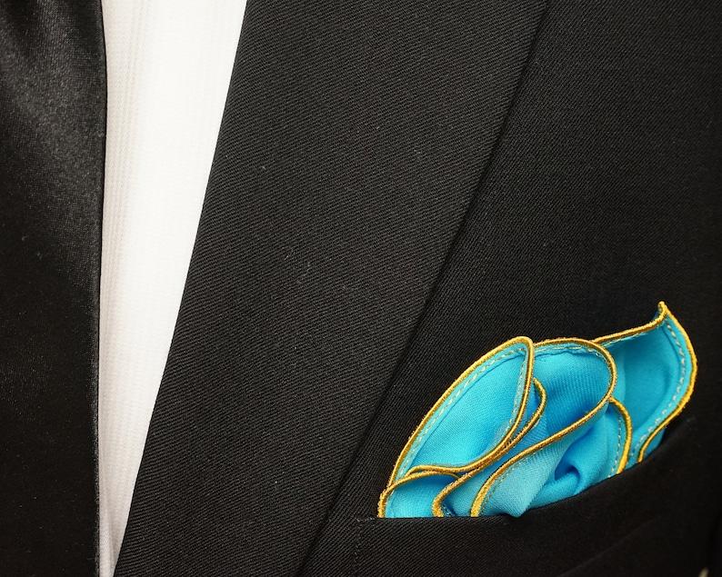 Light Blue Silk Pocket Square with Gold Edge Border  Wedding image 0