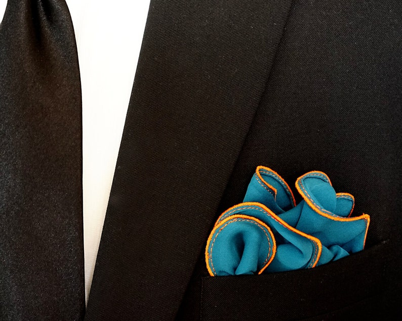 Dark Teal Pocket Square with Orange Edge Border Wedding image 0