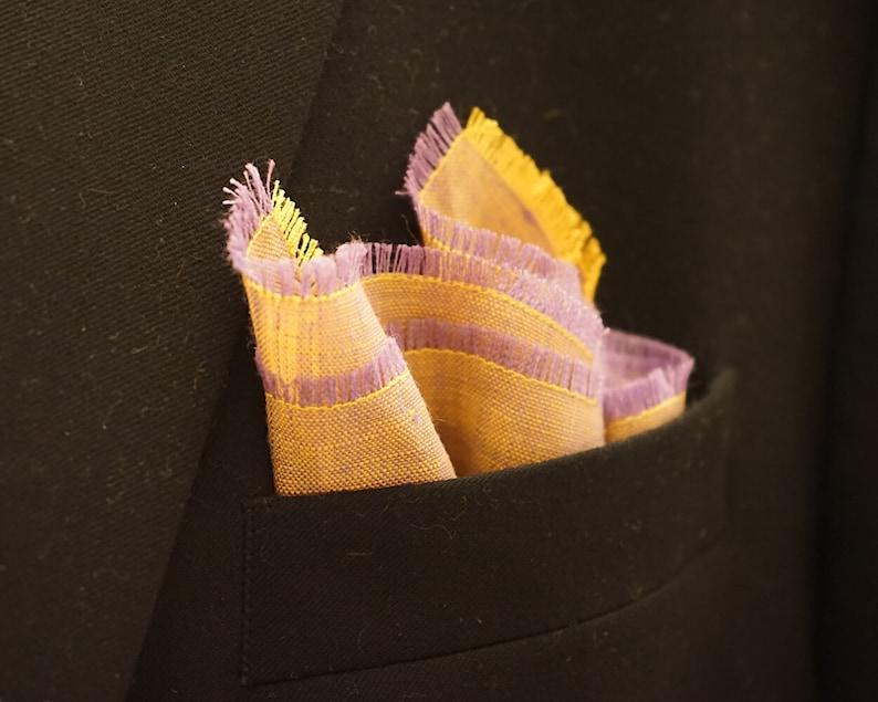 Lilac Yellow Pocket Square Linen Handkerchief Light Purple image 0