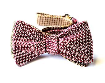 Bow Tie, Self Tie, Red Pattern, Orange Pattern, Reversible
