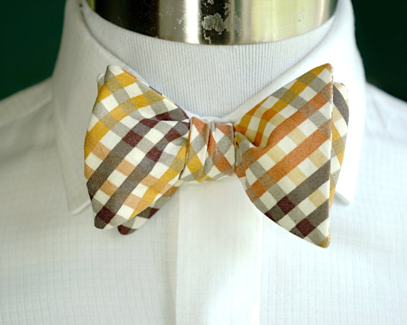 Orange and Brown Gingham Bow Tie Self Tie or Pre Tied Bowtie image 0