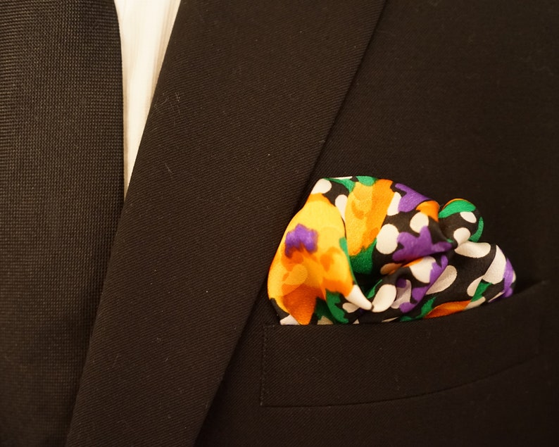 Silk Pocket Square Floral Pocket Square Satin Flower image 0