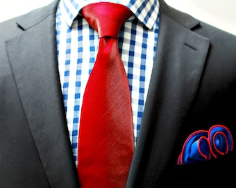 Blue Pocket Square with Red Edge Border  Wedding Hankerchief  Custom Pocket Round  Groomsman Hankie  Pocket Silk Handkerchief for Man