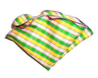 Pocket Square/ Silk Hankies/ Silk Pocket Square/ Wedding Handkerchief/ Groomsman Gift/ Pink Orange and Green Lavender