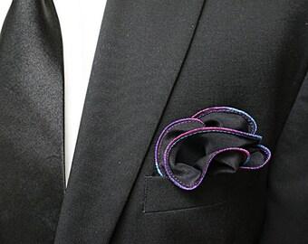 Black Silk Pocket Square with Rainbow Edge Border  Wedding Hankerchief  Custom Pocket Round  Groomsman Hankie  Pocket Handkerchief for Man