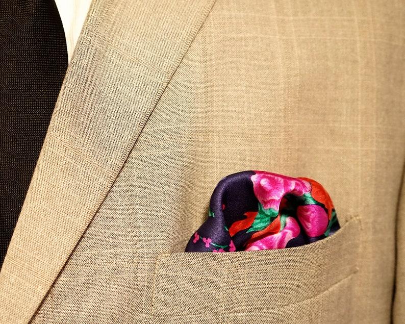 Silk Pocket Square Floral Pocket Square Satin Flower image 0