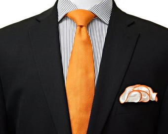 White Silk Pocket Square with Orange Edge Border  Wedding Hankerchief  Custom Pocket Round Groomsman Hankie  Pocket Handkerchief for Man