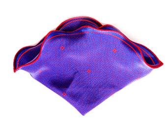 Pocket Square/ Silk Hankies/ Silk Pocket Square/ Wedding Handkerchief/ Blue Handkerchief/ Pocket Round/ Red and Blue Herringbone