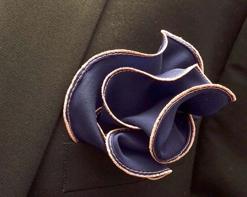 Navy Blue Silk Pocket Square with Pink Edge Border  Wedding image 0