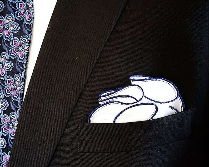 White Silk Pocket Square with Navy Blue Edge Border  Wedding image 0