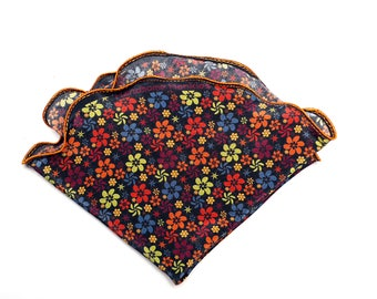 Silk Pocket Square, Pocket Square Round, Floral Hanky,  Wedding handkerchief, Gift for Him