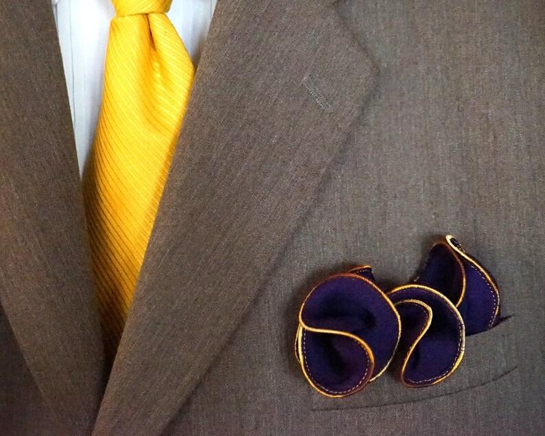 Purple Silk Pocket Square with Gold Edge Border  Wedding image 0
