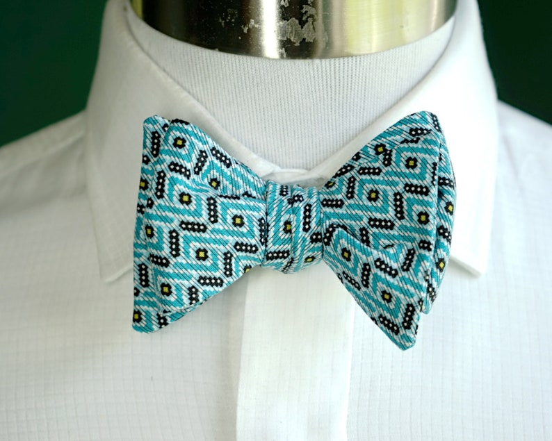 Teal Print Bow Tie Self Tie or Pre Tied Bowtie Teal and image 0