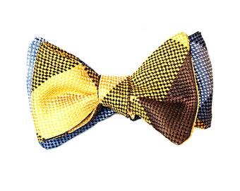 Bow Tie, Gold, Yellow, Brown and Navy, Blue, Light Blue Reversible