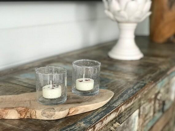 Hand blown glass tealight holders