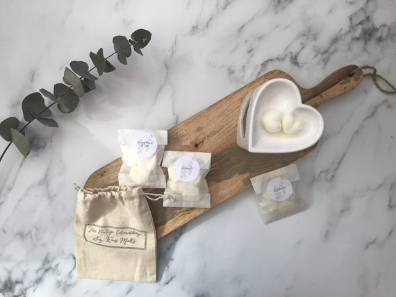 Soy wax melts with linen drawstring bag option