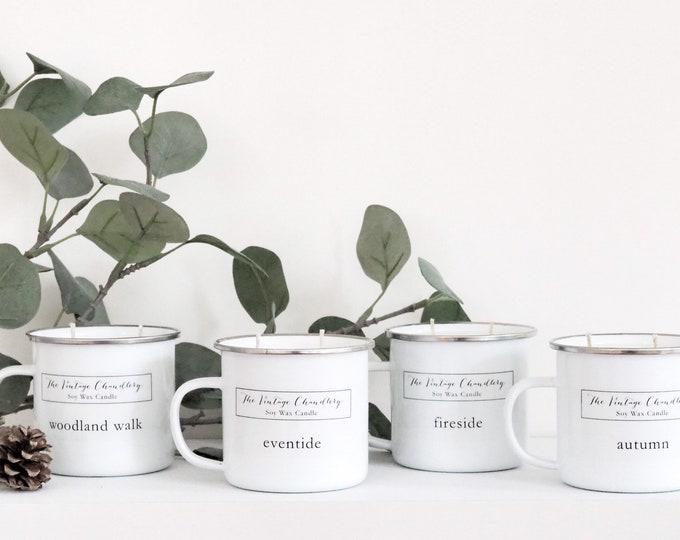 White Scandi Enamel Mug candles