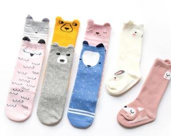 Cute Baby Socks, Animal Socks, Baby Gift, Baby Shower Gift, Newborn Gift, Cotton Baby Socks, Knee High Socks, Neutral Baby Gift