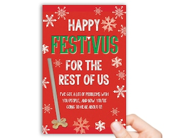 Festivus card etsy printable seinfeld festivus for the rest of us holiday foldable card postcard download m4hsunfo