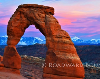 Delicate Arch at Sunset.  Photograph. Digital Download. Canvas. Metal. Arches National Park. Utah
