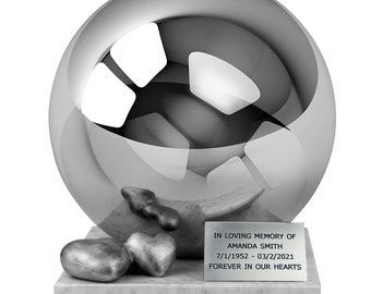 One-of-a-kind premium Companion Cremation Urn for Ashes,   Stainless Steel Sphere  Urn , True Hand-crafted , AFFORDABLE URN and DURABLE