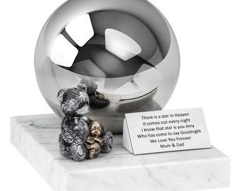 Child Funeral Ashes Urn - Infant urn Baby Cremation urn Unique Teddy Bear Urn for Ashes, Angel Urn (Art34)