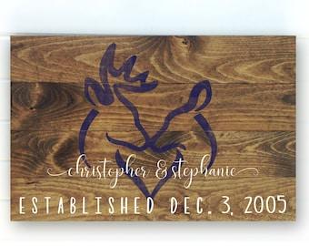 Deer Sign - Deer Decor - Custom Deer Established Sign - Deer Wedding Gift - Deer Anniversary Gift - Personalized Deer Sign - Wood Signs