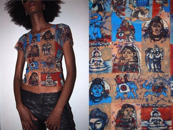 Kenzo Jeans 90s vintage mesh sheer t-shirt mesh to