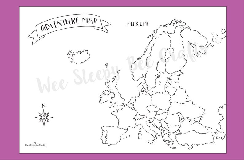 Travel Map of Europe Colouring Page, Digital Download PDF, Adventure  Scratch Map, Colouring Page Achievement Map, Gift for Travel Lovers