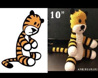 "10"" Tiger Doll Inspired by Calvin and Hobbes Amigurumi Plush"