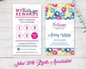 Thirty One Punch Card - 2018 Patterns (template)