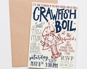 Crawfish Boil Invitation -- Custom Housewarming, Couples Shower, Rehearsal Dinner, Wedding, Birthday Party Invite