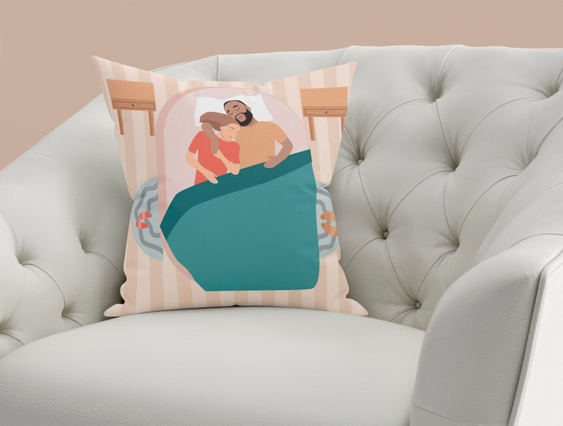 Colorful Pillow Personalized Photo Pillow Accent Pillow, Funny Custom Throw Pillow Couple Portrait Photo to Painting Gift for Him