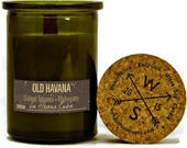 OLD HAVANA Sweet Tobacco Mahogany - Soy Candle - Wood Wick - Recycled Glass Jar - Wanderlust Scents - Travel Gift - Made In The USA