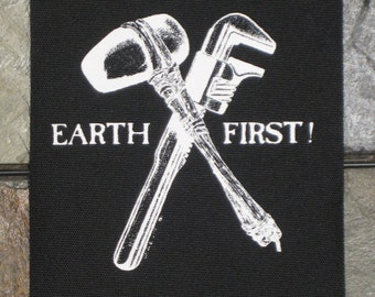 Earth First Liberation Front Patch Punk Environment Greenpeace Nature Peta Vegetarian Vegan ELF Animal Liberation Peta Rights Environmental