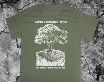 Earth First Liberation Front T Shirt Punk Environment Greenpeace Nature Vegetarian Vegan ELF Animal Human Liberation Peta Rights Anarchism