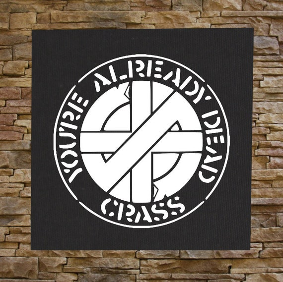 crass back patch crust anarcho punk rudimentary peni amebix etsy. Black Bedroom Furniture Sets. Home Design Ideas