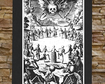 Memento Mori Canvas Print / BACK Patch - Danse Macabre Dance of Death Remember Skull Occult Gothic Skeleton Medieval Wicca Voodoo Seal Sigil