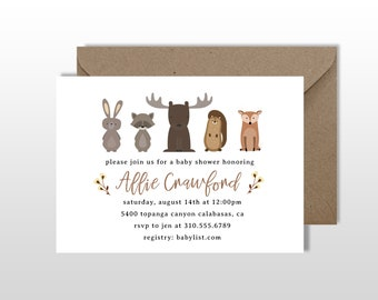 Woodland Creatures Invitation // Baby Shower Invitation // Forest Friends // Digital Invitation // Woodland Friends