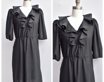 1970s little black ruffle dress / medium