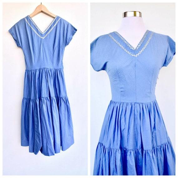 1950s Southwest Blue Dress / XS