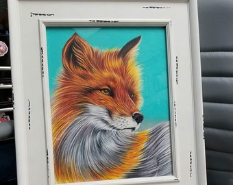 Colored pencil fox drawing 11x14